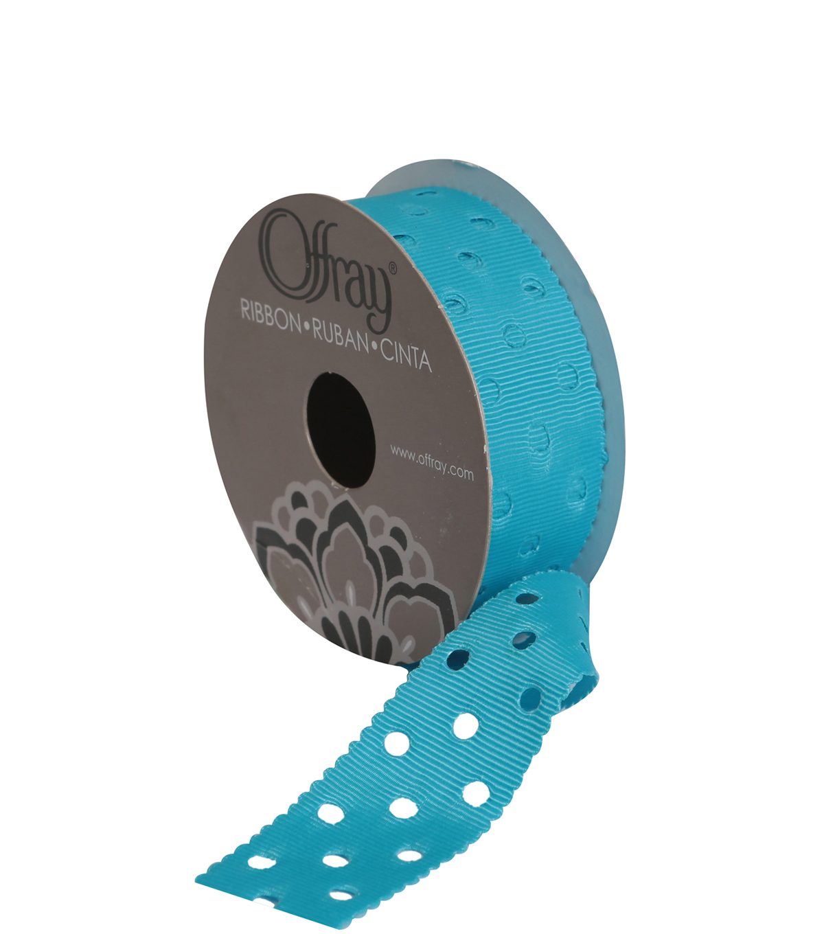 "Swiss Dots 1""Turq Ribbon"