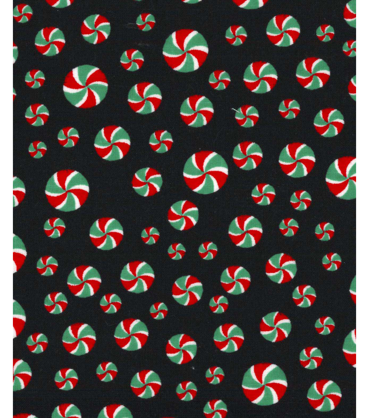 Christmas Cotton Fabric 43''-Peppermints on Black
