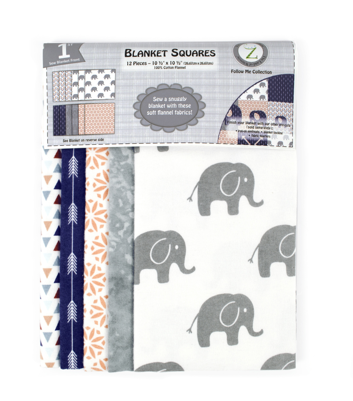 Land of Whimzie Follow Me Flannel Blanket Squares - 12 pcs 10.5\u0022x10.5\u0022