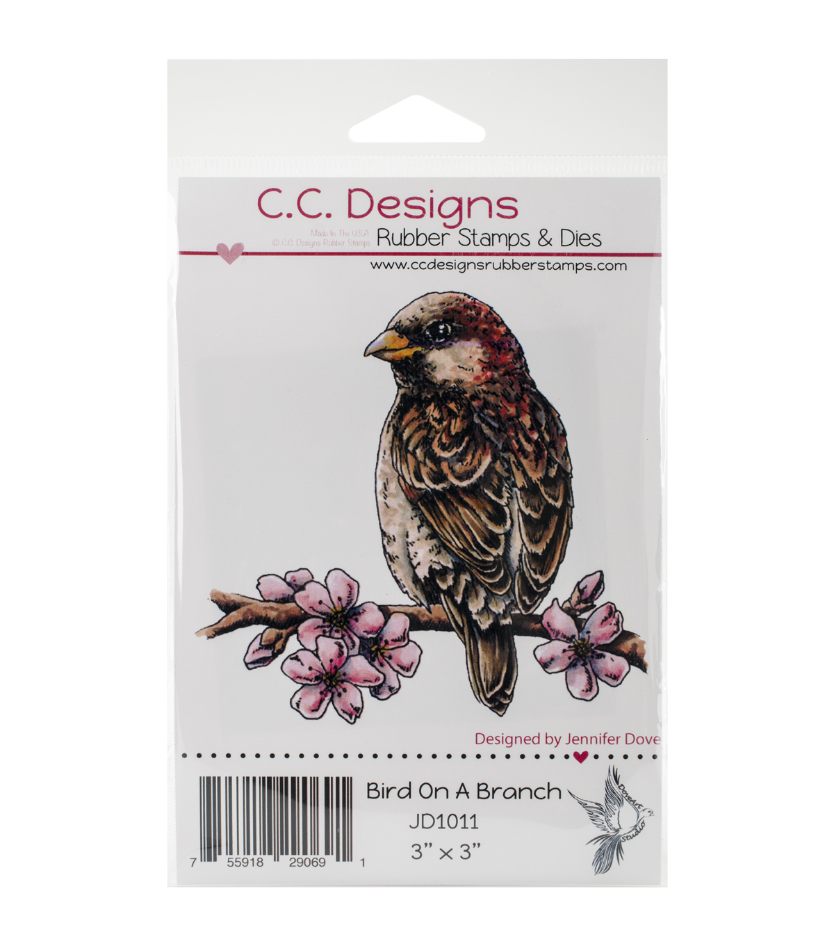 C.C. Designs Doveart Studio Bird On Branch Cling Stamp