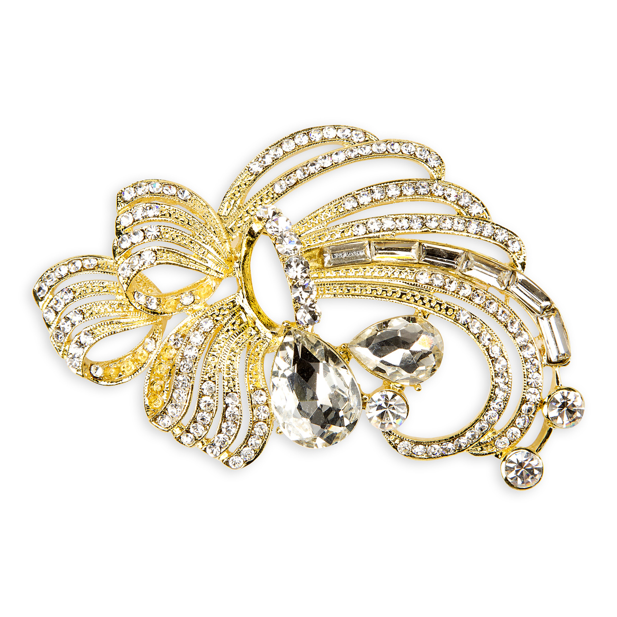David Tutera™ Bridal Collection Gold Swirl&Teardrop Brooch w/Rhinest.