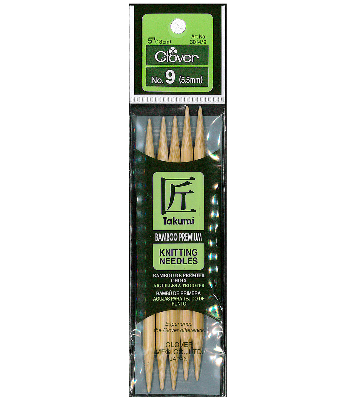 Clover Bamboo Double Point Knitting Needles 5\u0022 Set Of 5-Size 9