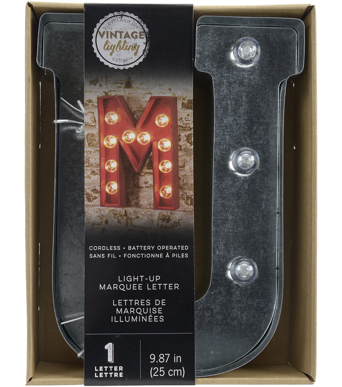 Vintage Lighting Light-Up Marquee Letter U 10\u0027\u0027-Silver
