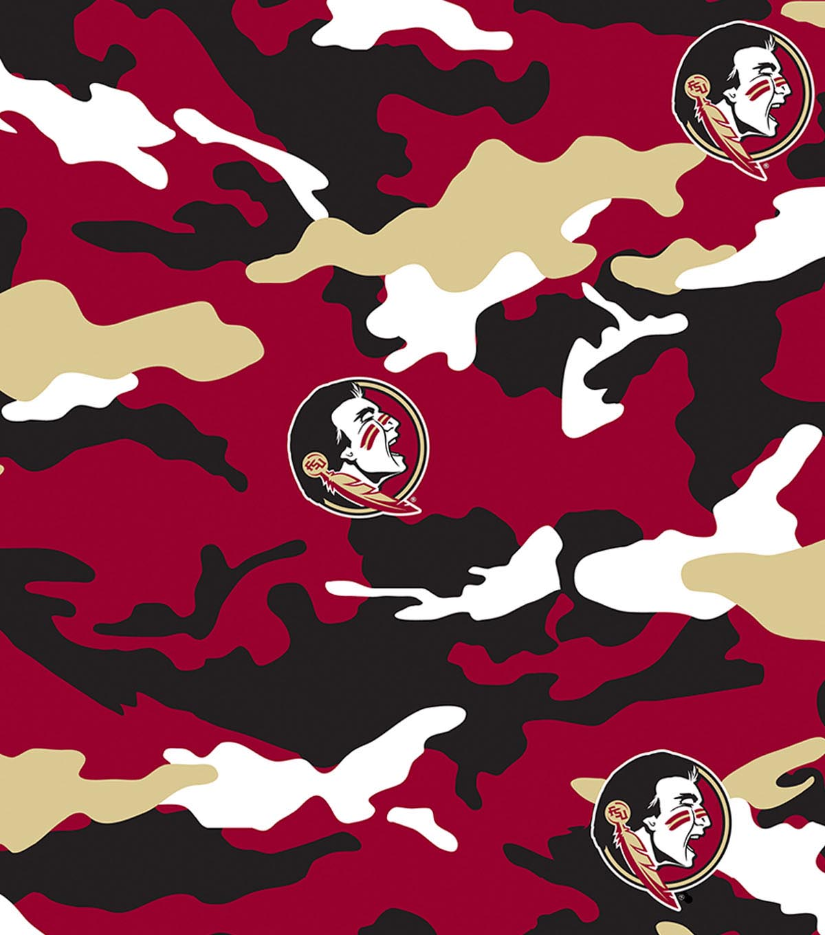 Florida State University Seminoles Cotton Fabric 43\u0022-Camo
