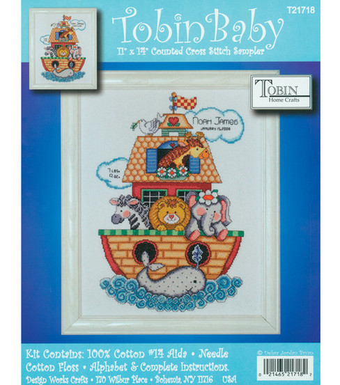"Noah's Ark Birth Record Counted Cross Stitch Kit-11""X14"" 14 Count"
