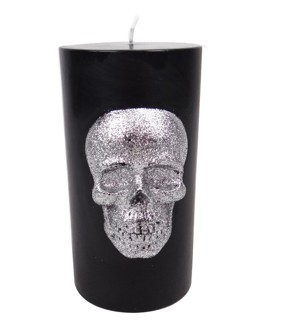 Maker\u0027s Halloween 3\u0027\u0027x6\u0027\u0027 Pillar Candle-Silver Skull Icon on Black