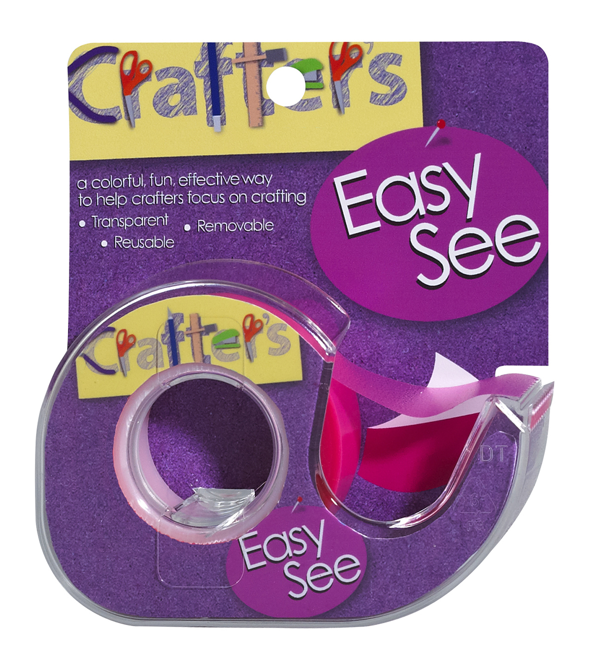 "Crafter's Easy See Removable Craft Tape .5""X720""-Pink"