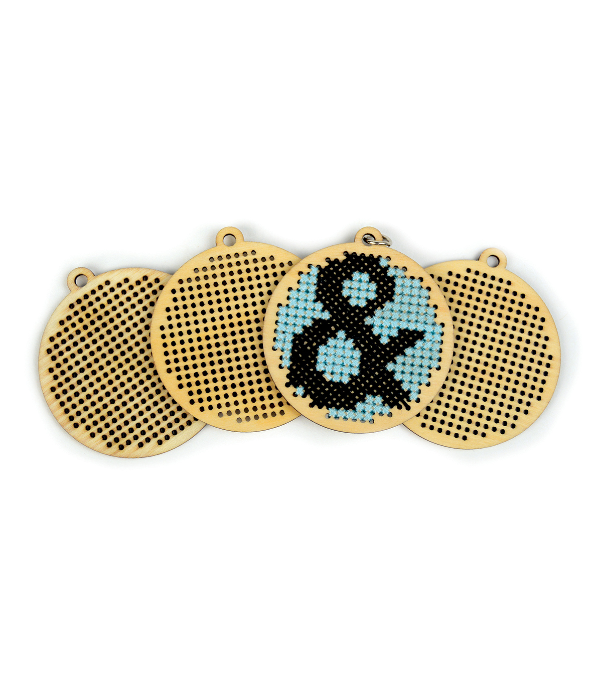 Cross Stitch Style 4 Pack Wood Charms-Circle