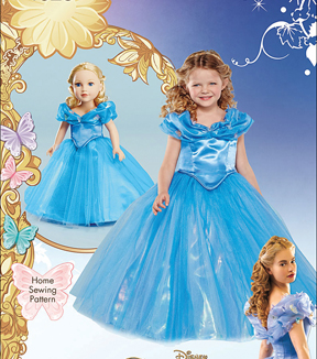 Simplicity Patterns Us1028A-Simplicity Disney Cinderella Costume For Child And 18 Doll-3-4-5-6-7-8