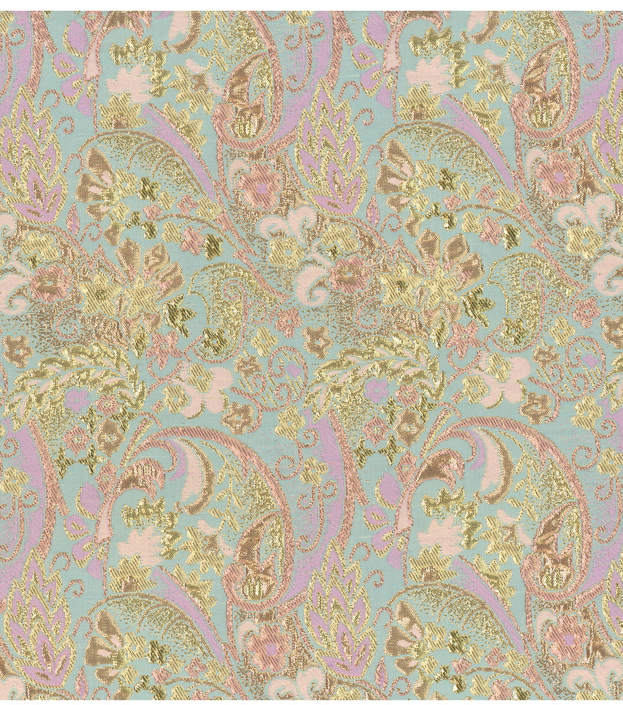 Brocades Fabric 55\u0022-Gold and Aqua