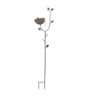 Wild Blooms Metal Bird Nest Yard Stake