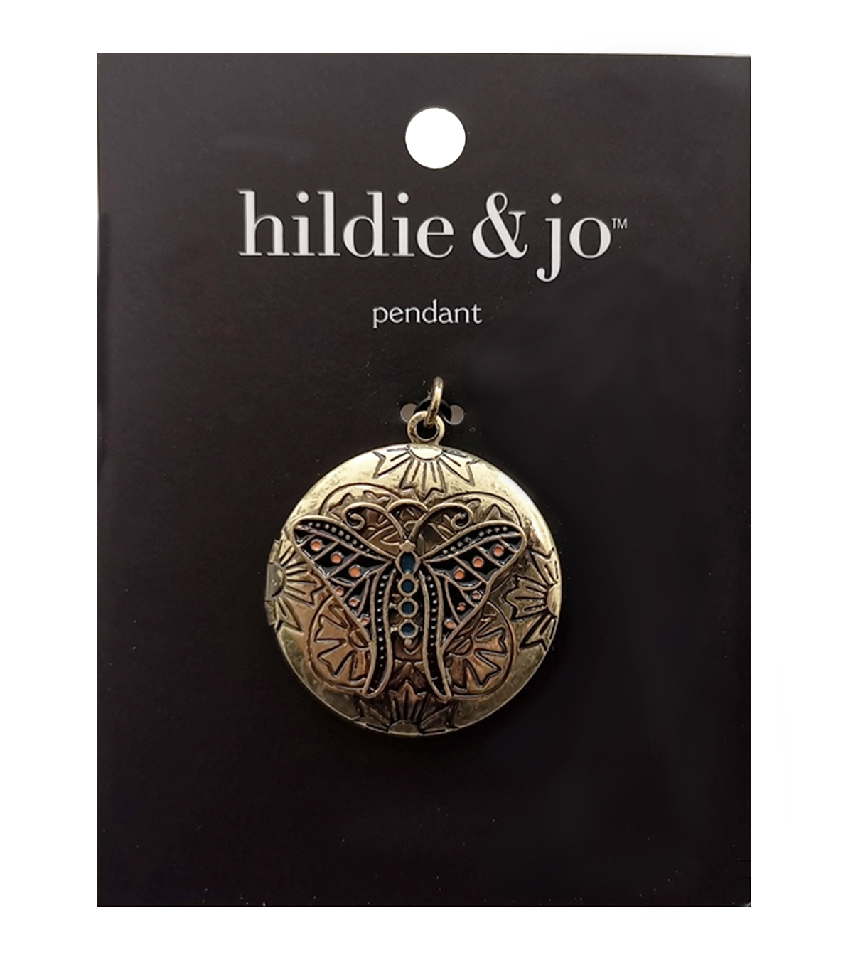 hildie & jo™ Antiquist Locket with Butterfly Gold Pendant