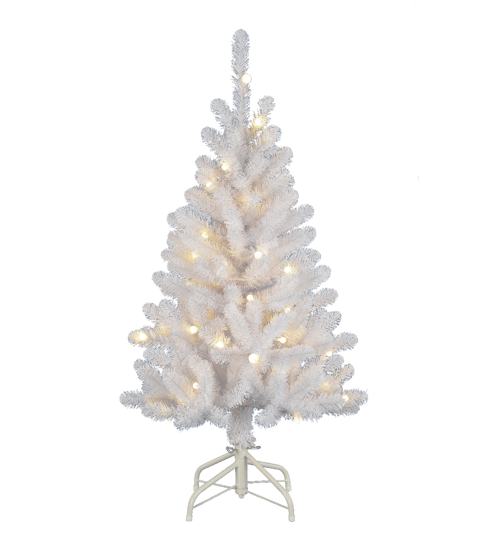 Makeru0027s Holiday Christmas 4u0027 PVC Tree With Lights White