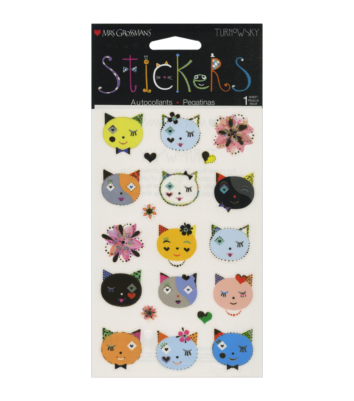 Mrs. Grossman's Cats Frilly Faces Stickers