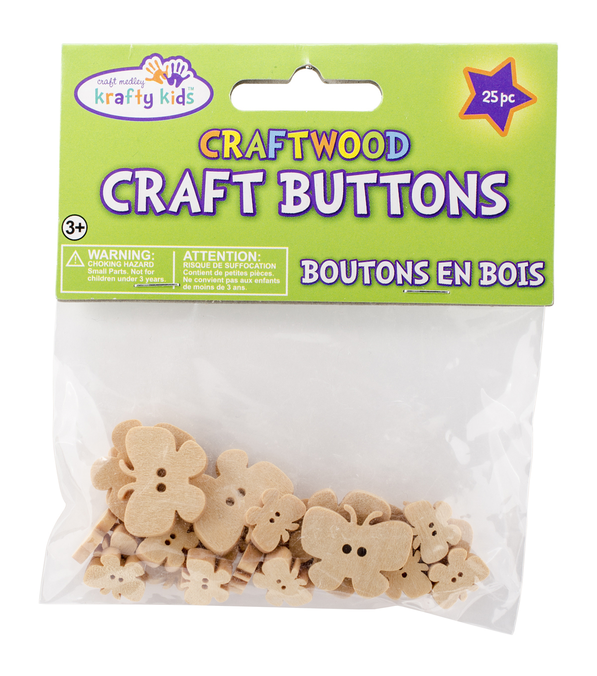 Krafty Kids Craft Shaped Natural Butterflies Buttons