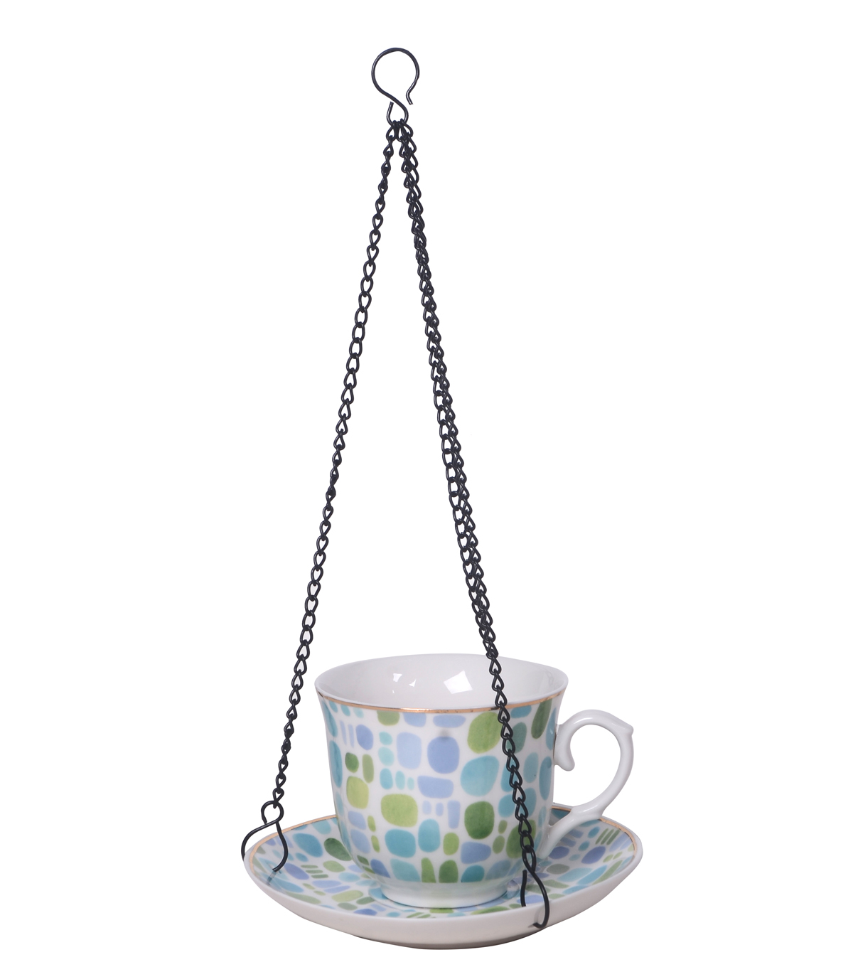 Hello Spring Gardening Porcelain Upright Teacup Bird Feeder-Geometric