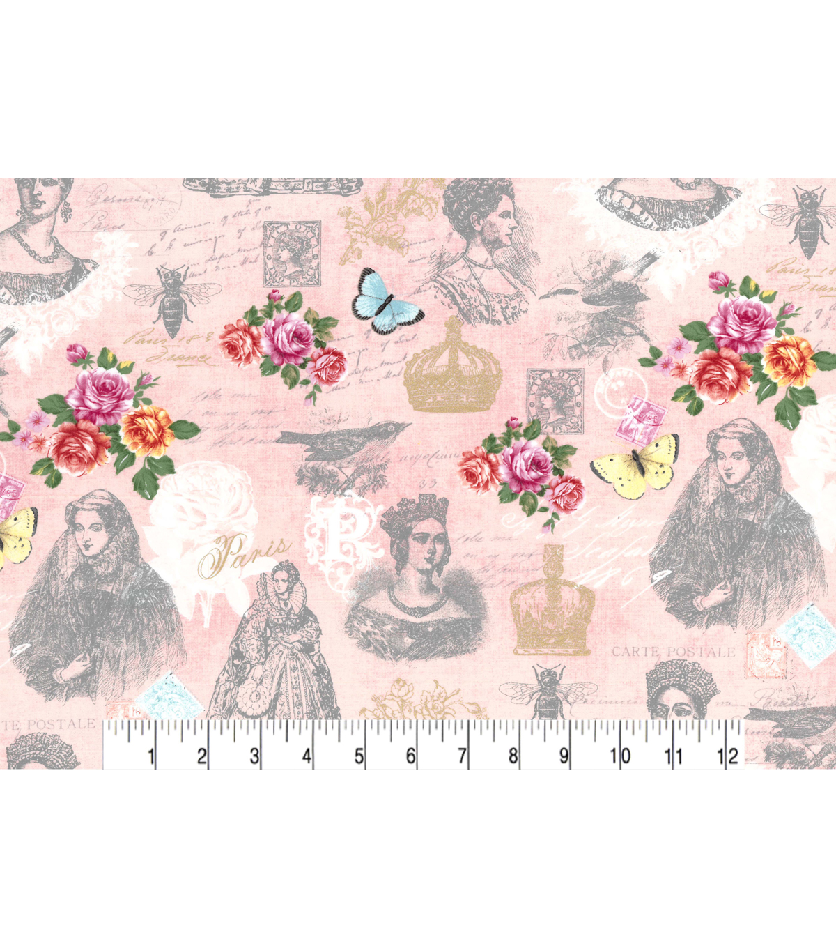 Buttercream™ Cosette Cotton Fabric 43\u0022-Paris Lady Metallic