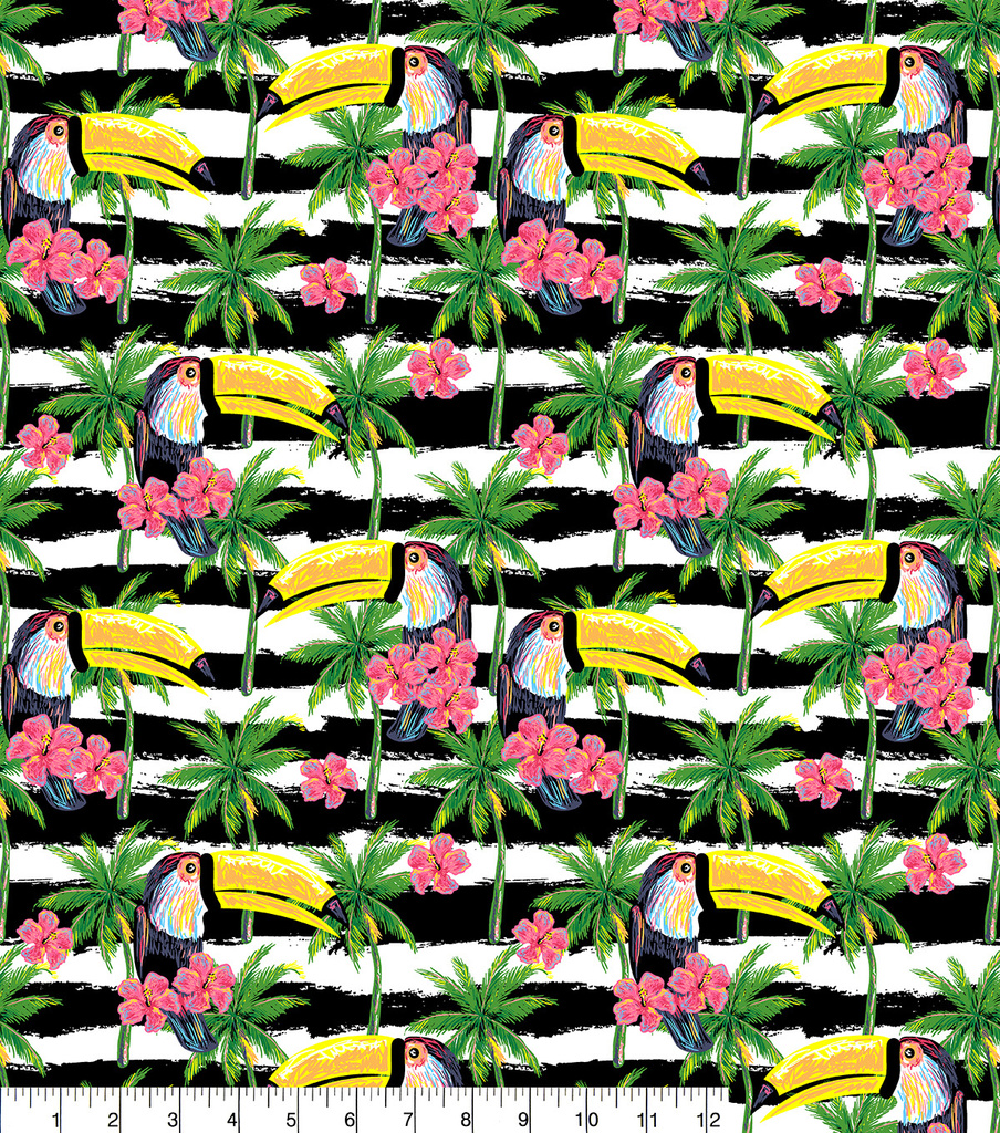 Snuggle Flannel Print Fabric 42\u0022-Toucans On Bw Stripe