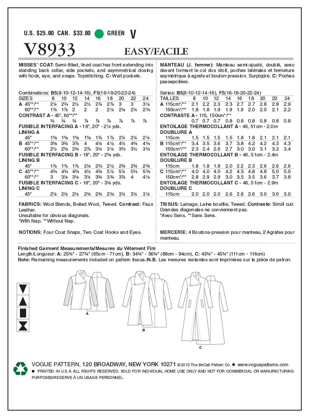 Vogue Patterns Misses Outerwear-V8933