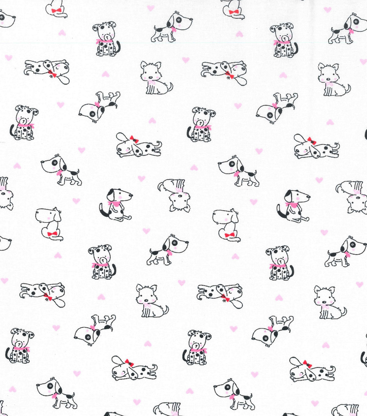 Novelty Cotton Fabric 43\u0022-Cute Pups With Hearts