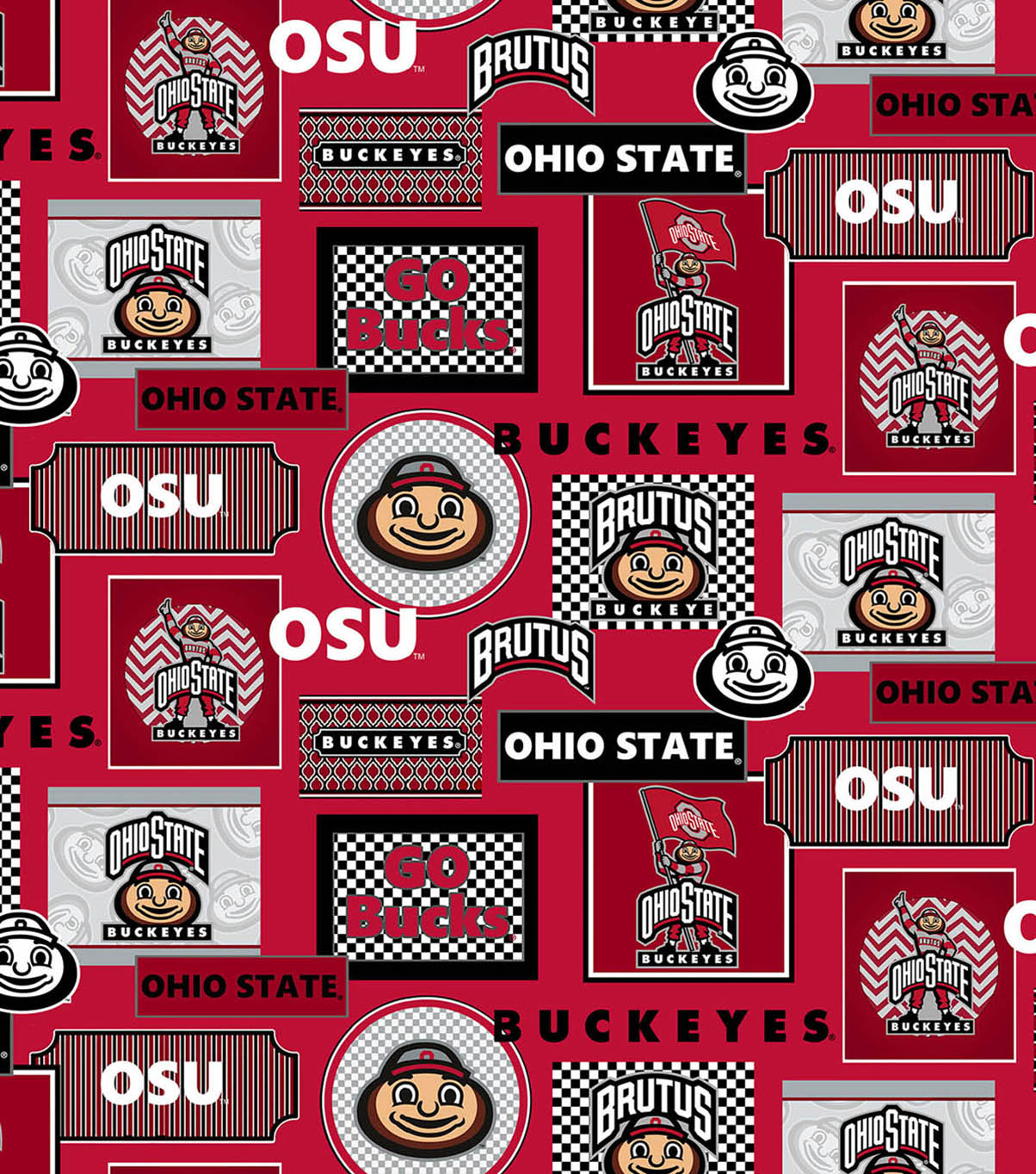 Ohio State University Buckeyes Cotton Fabric 44\u0022-Packed Patches