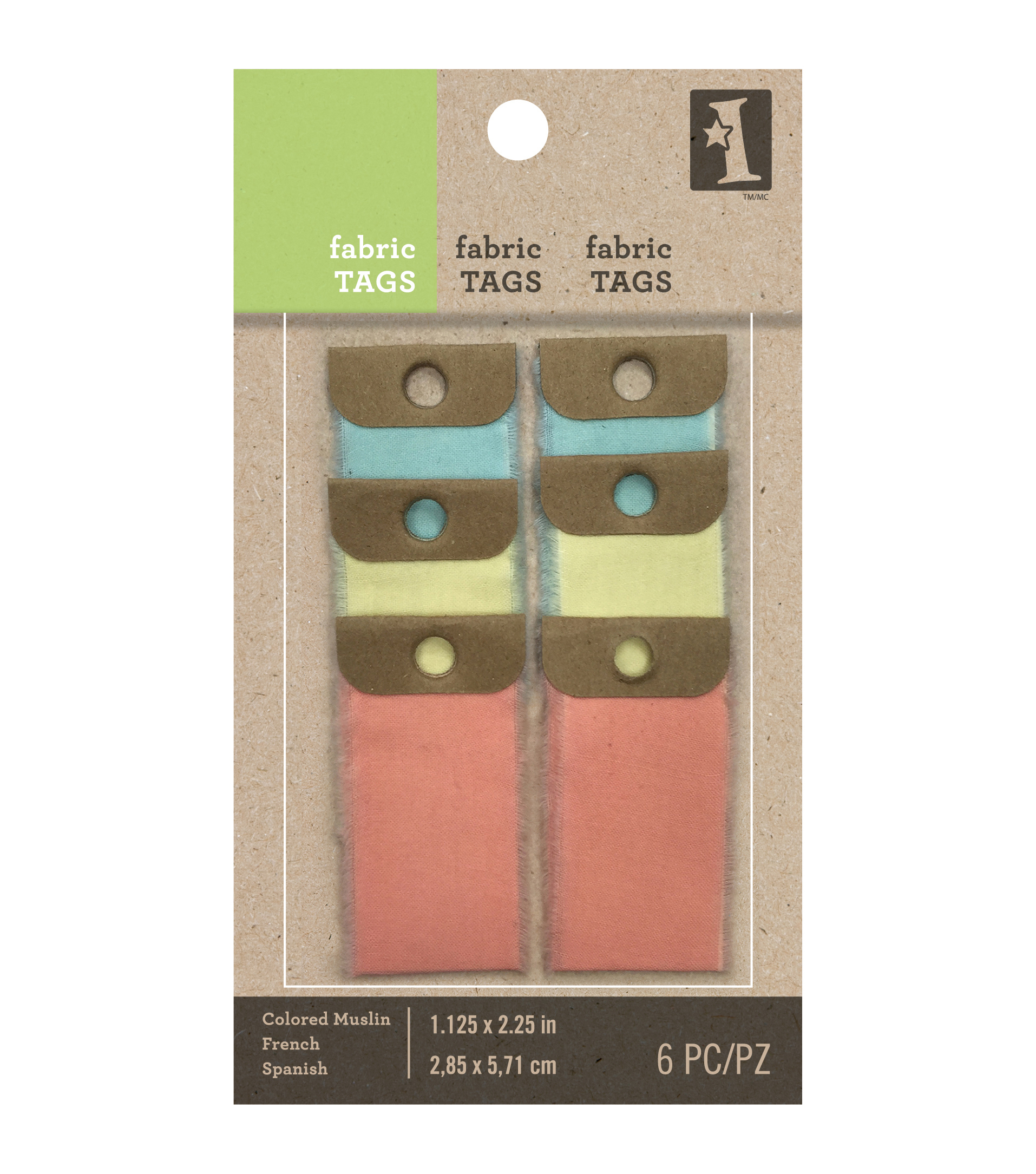 Inkadinkado Colored Muslin Fabric Tags 1.125\u0022X2.25\u0022 6/Pkg-Small