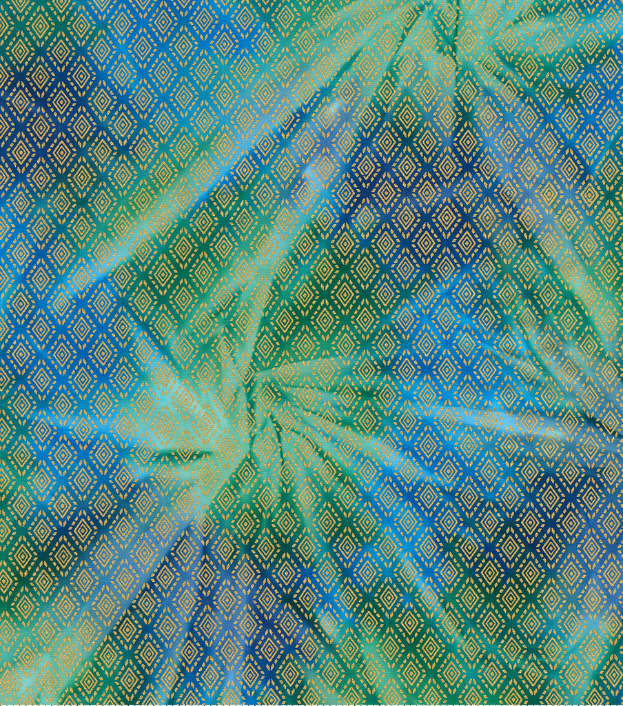 Legacy Studio™ Batik Fabric 44\u0027\u0027-Metallic Diamond on Green & Blue