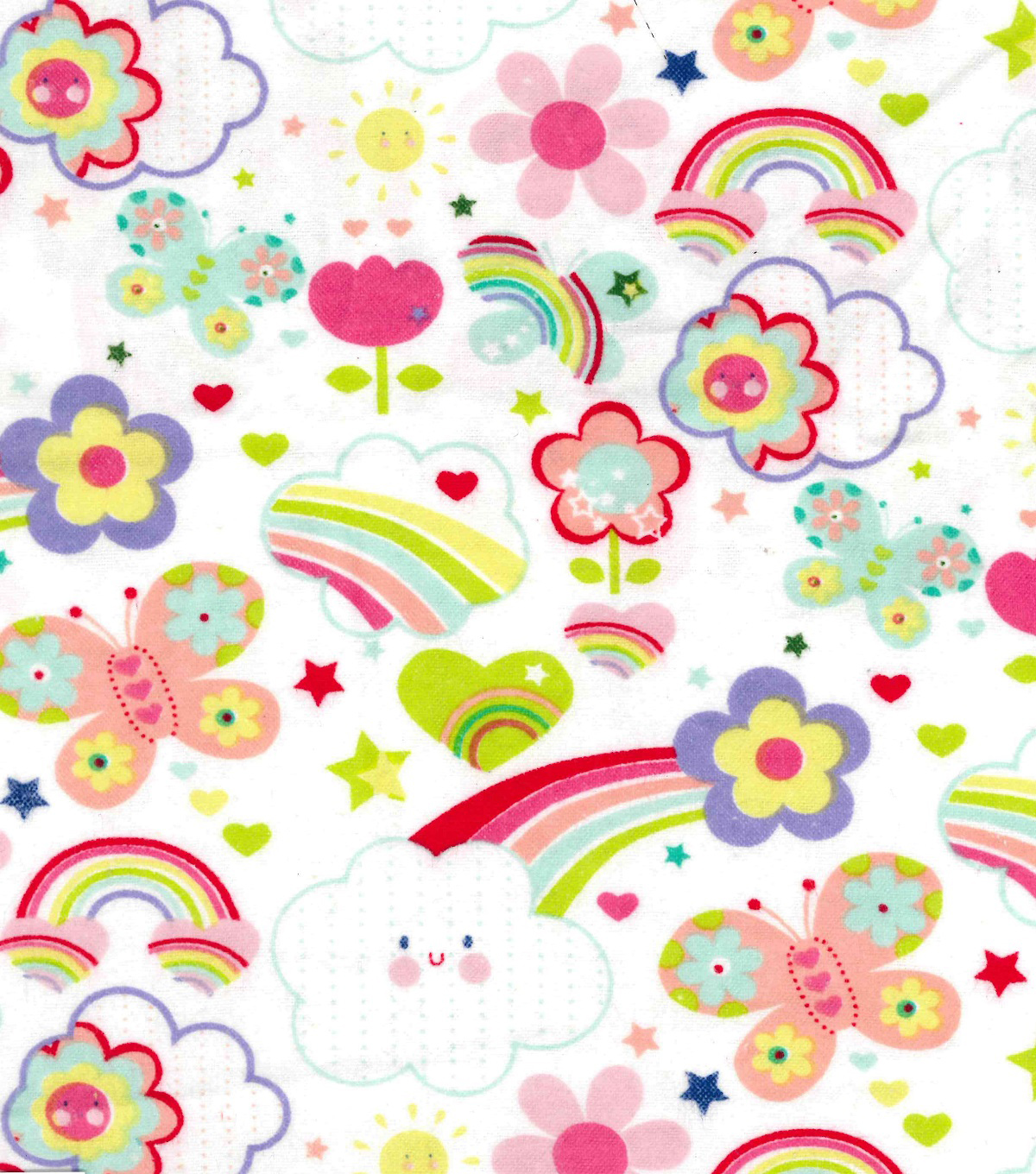 "Snuggle Flannel Fabric 41""-Happy Rainbows"