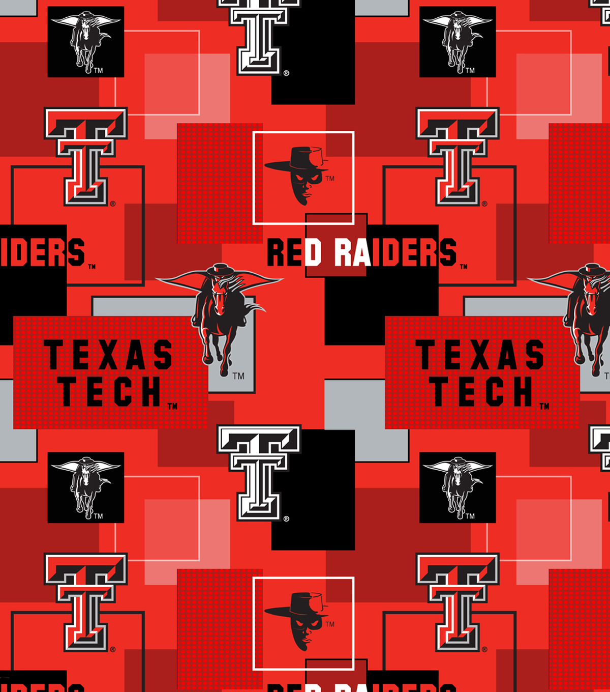 Texas Tech University Red Raiders Cotton Fabric 43\u0027\u0027-Modern Block