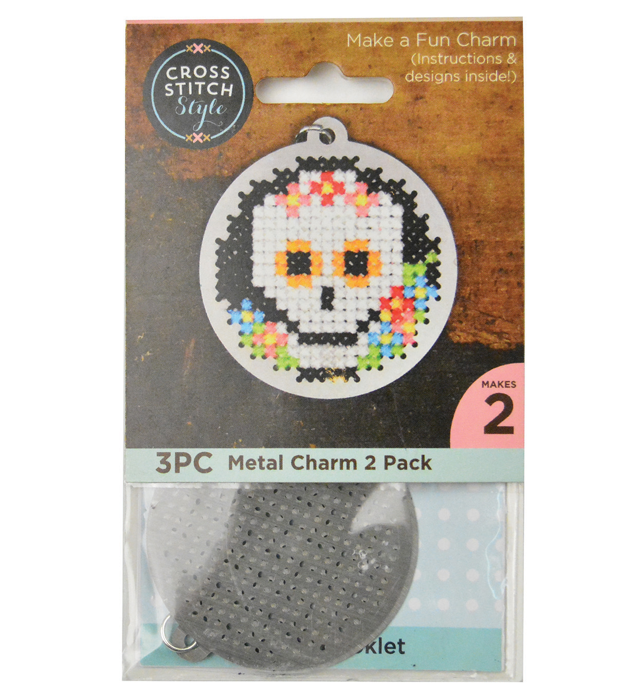 Cross Stitch Style 2 Pack Metal Charms-Circle