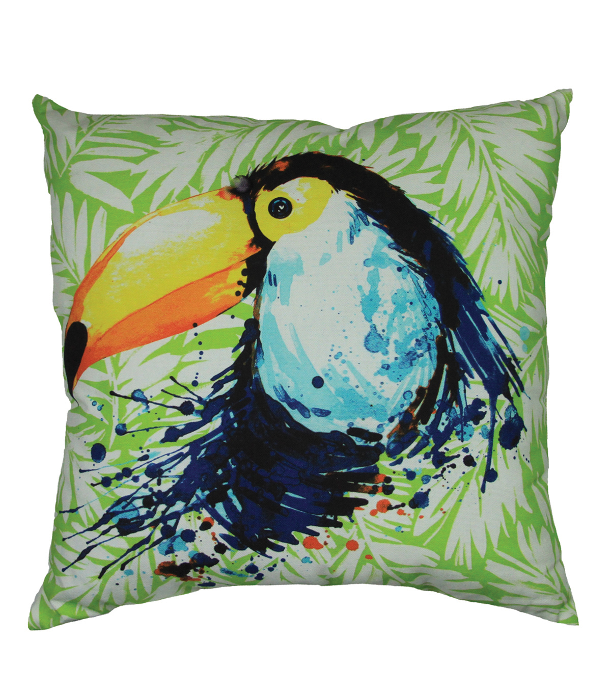 Summer Sol Square Outdoor Pillow-Tuffin Toucan Leaf