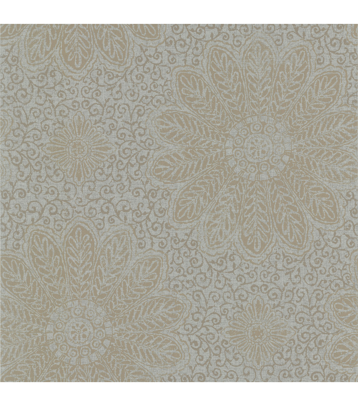 Tribe Grey Modern Floral Scroll Wallpaper Sample