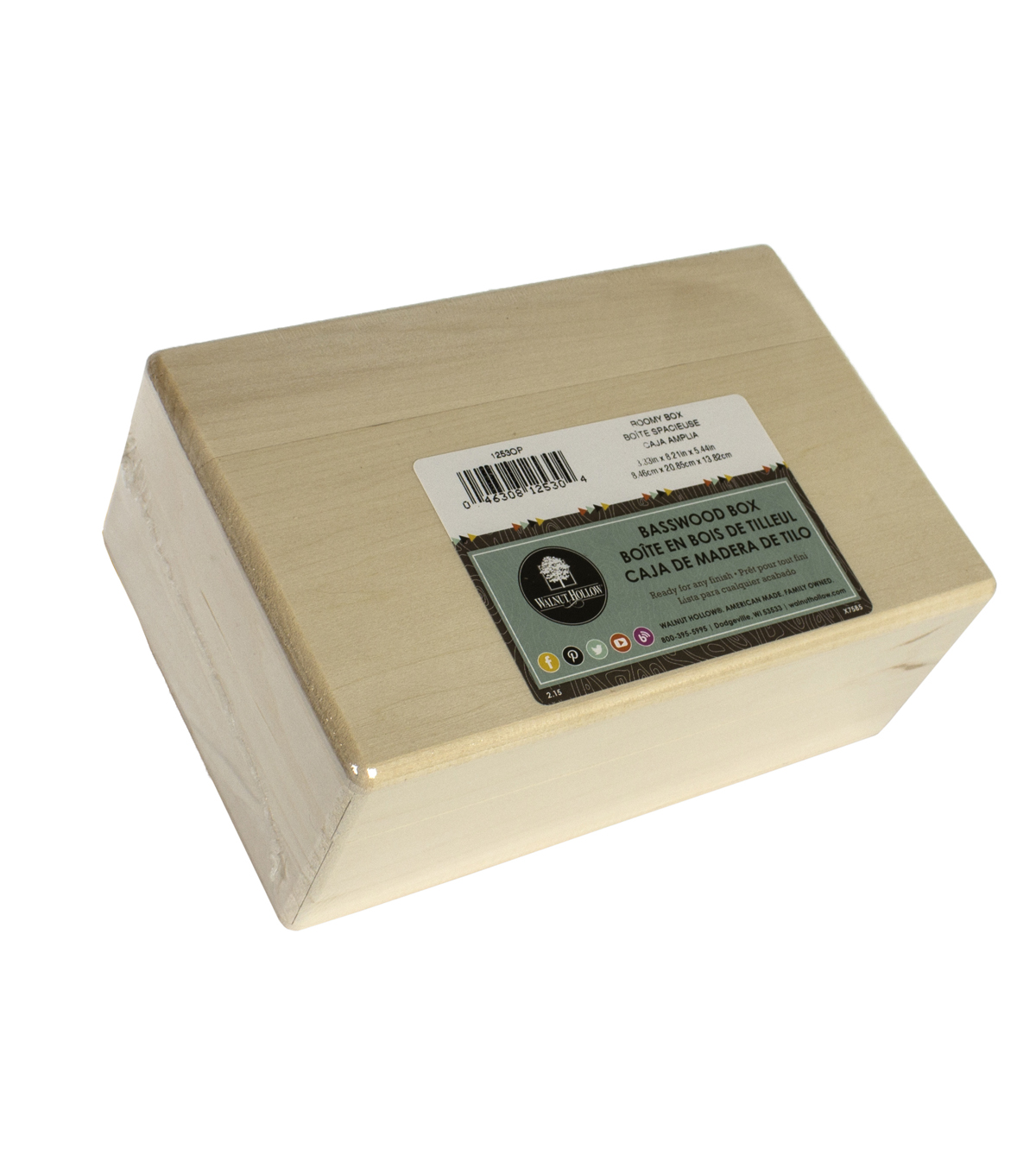 "Basswood Hinged Box-8.25""X3.25""X5.38"""