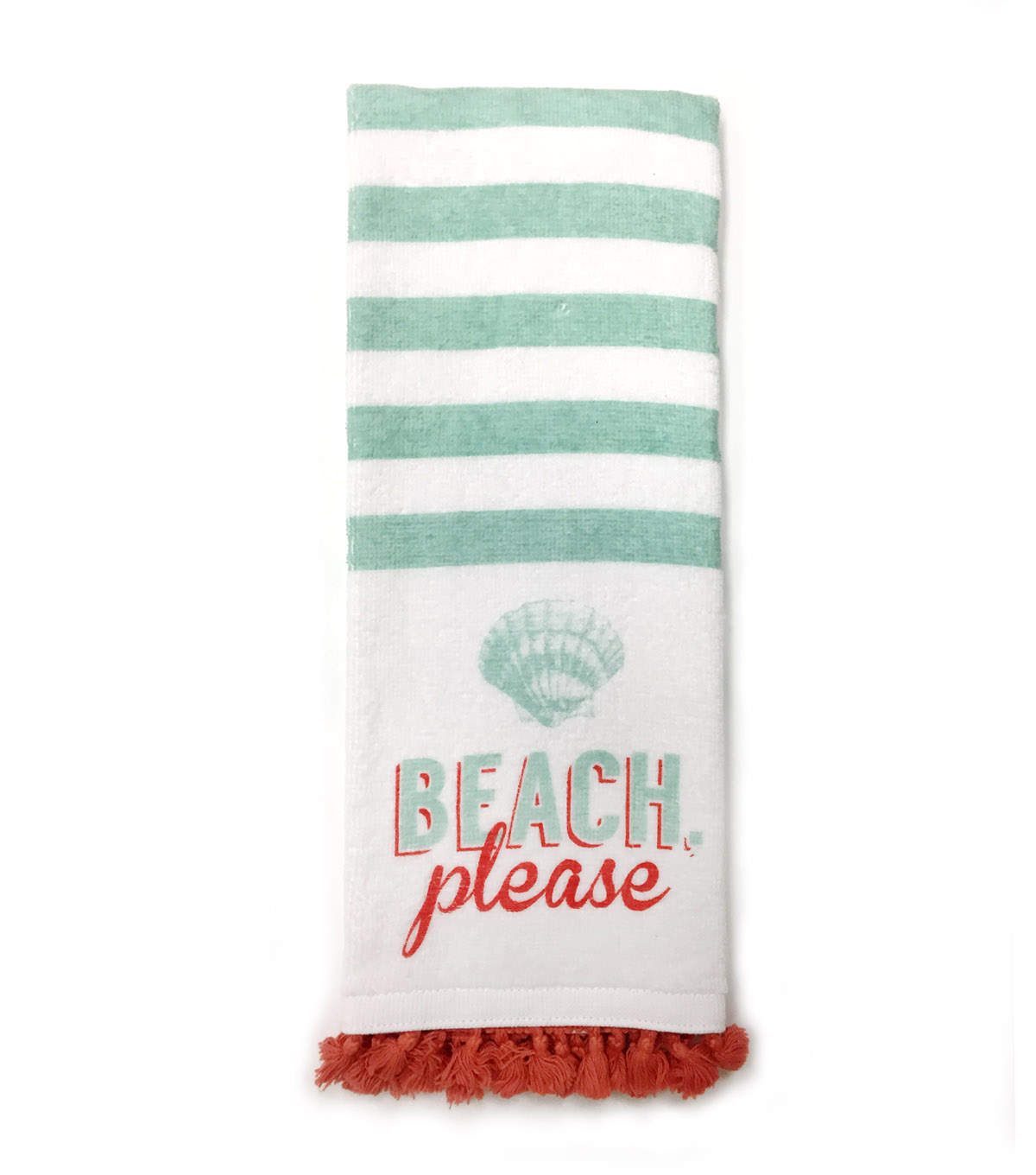 Sea to Sea 16\u0027\u0027x28\u0027\u0027 Terry Hand Towel With Tassel Trim-Beach Please