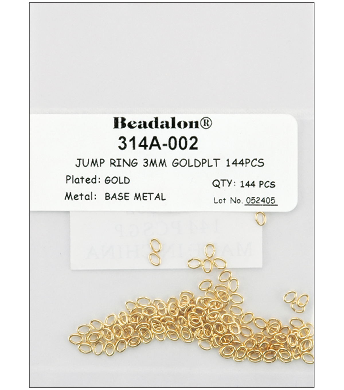 Beadalon Jump Rings 3mm 144PK-Gold