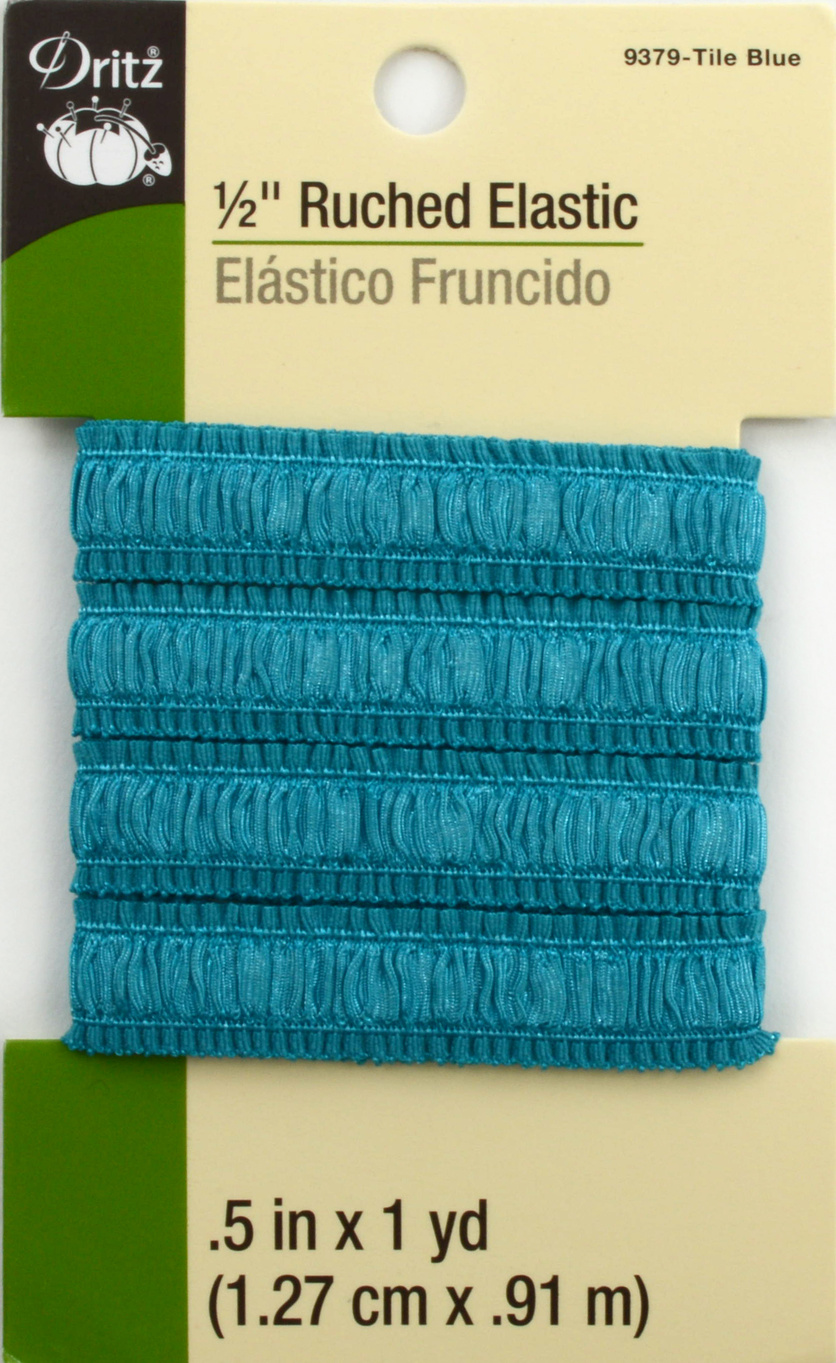 "Dritz 1/2"" Ruched Elastic Tile Blue 1Yd"