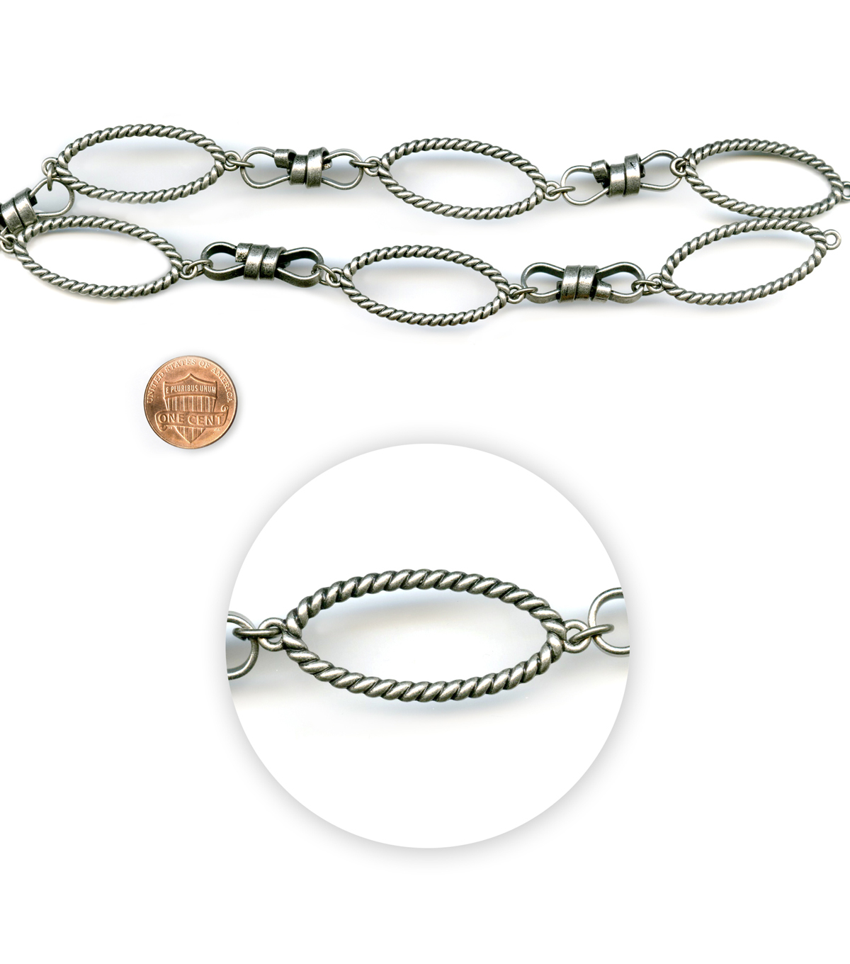 "Blue Moon Beads 14"" Strand, Metal Chain Links, Ox Silver"
