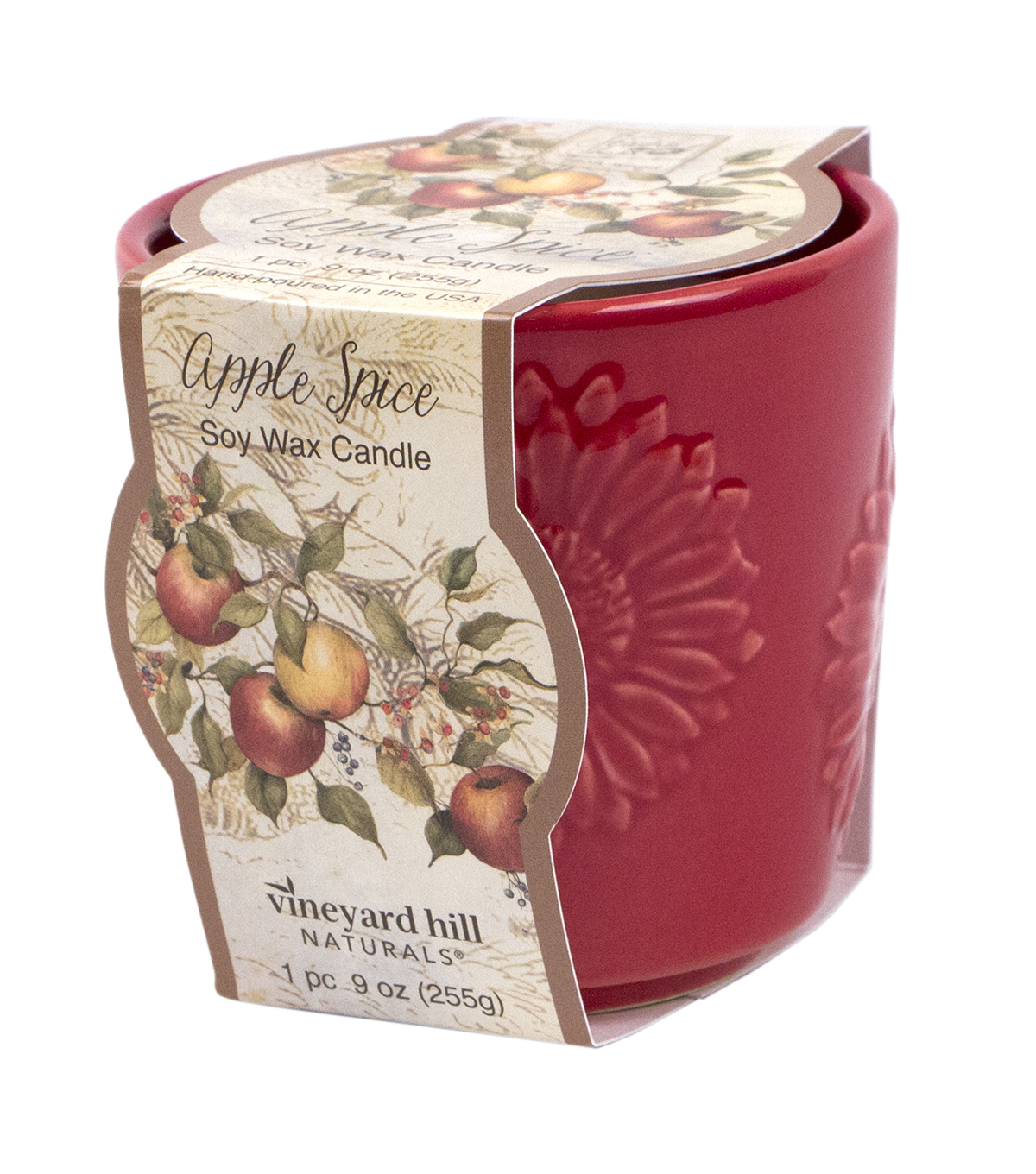 Susan Winget Red Sunflower Ceramic Candle Apple Spice 9 ounce