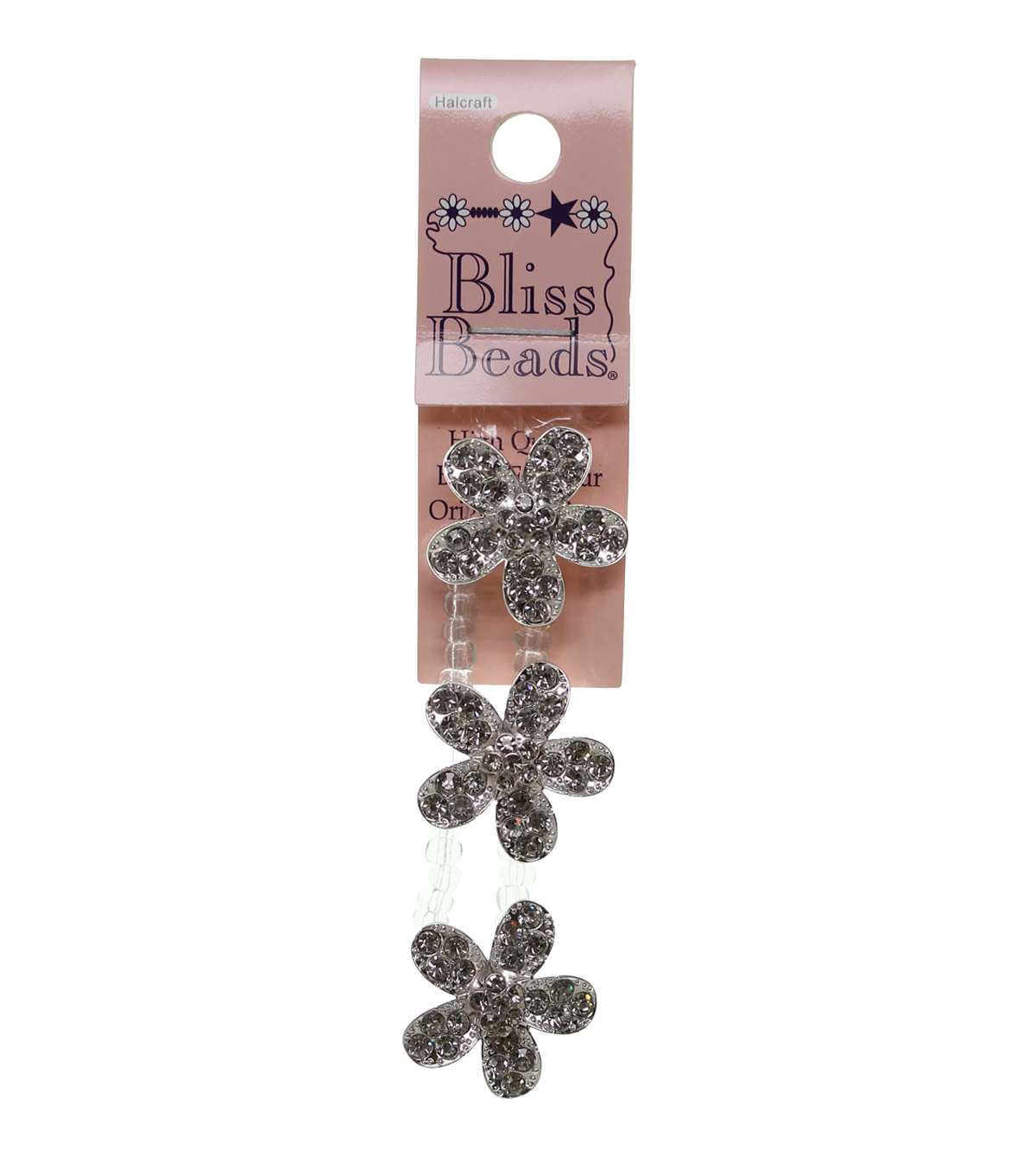 Bliss Beads Silver Plated Rhinestone Flower Sliders