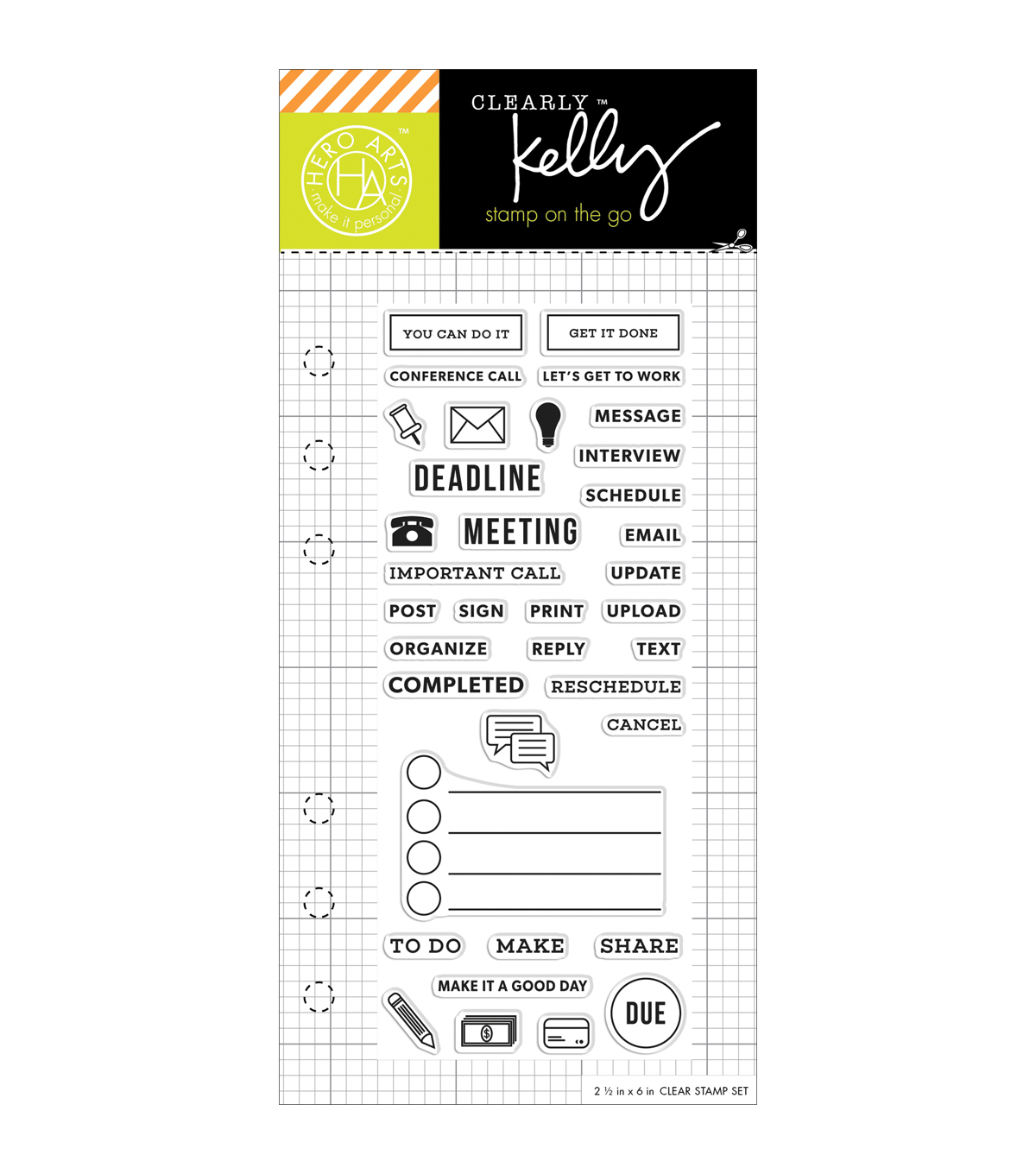 Kelly Purkey Clear Stamps 2.5\u0022X6\u0022-Work Planner