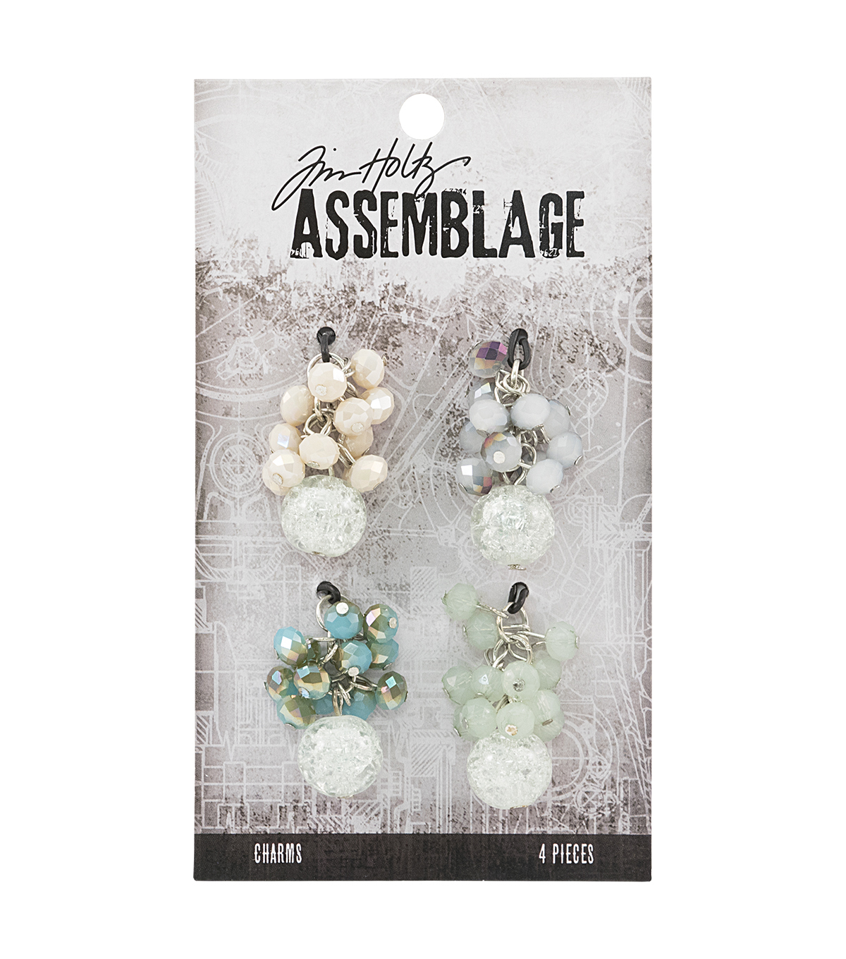 Tim Holtz® Assemblage 4 Pack 1''x1.25'' Beaded Cluster Charms