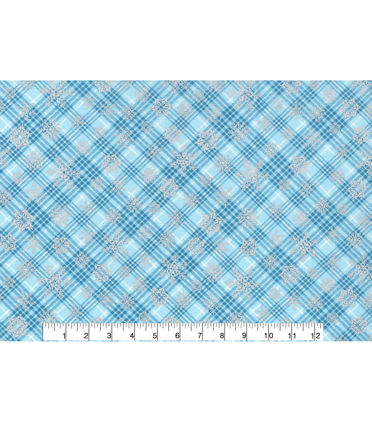 Christmas Cotton Fabric 43\u0022-Metallic Snowflake Plaid