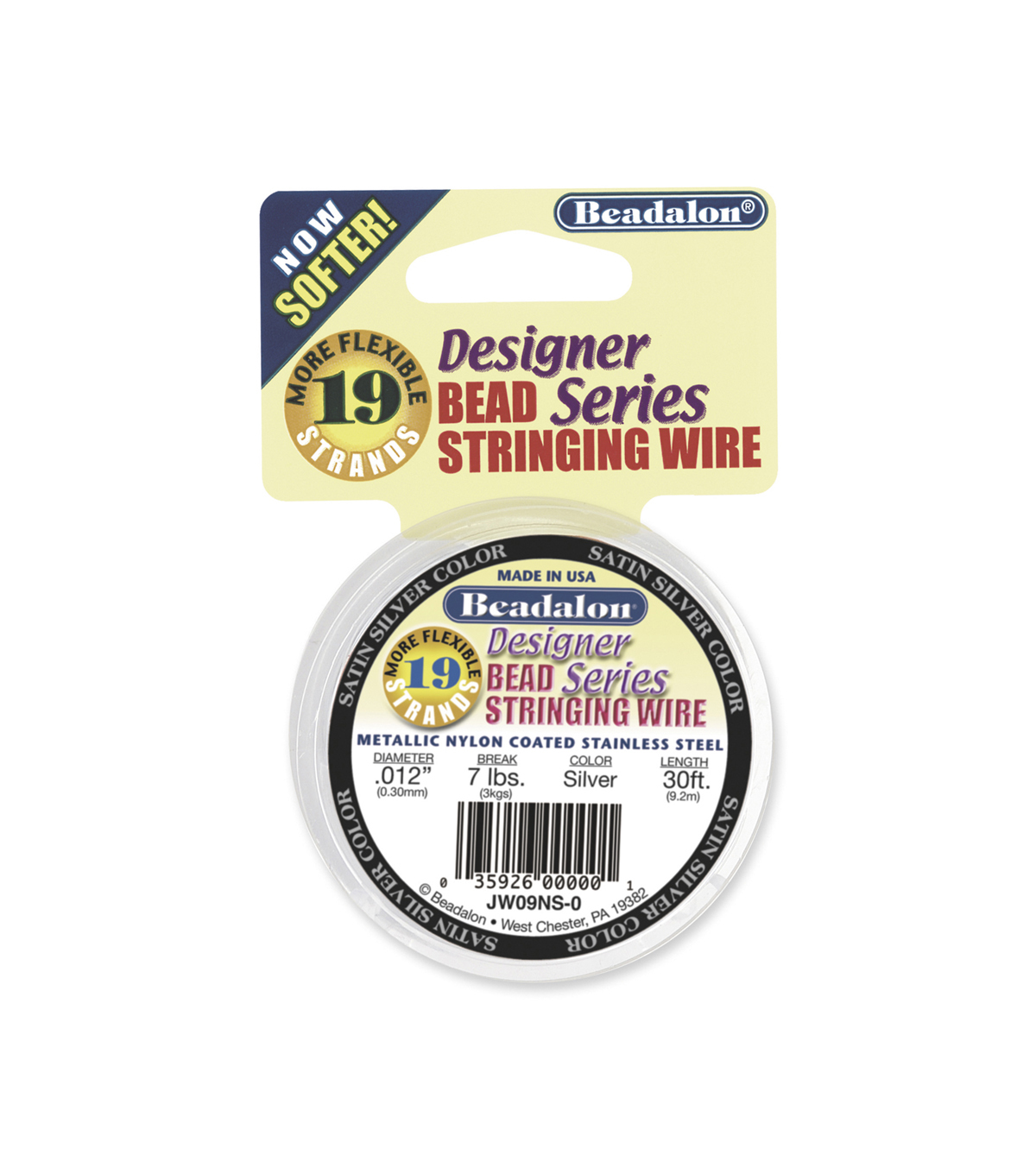 Metallic Nylon Coated Stainless Steel Wire, Silver,  .012 inch, 30ft.