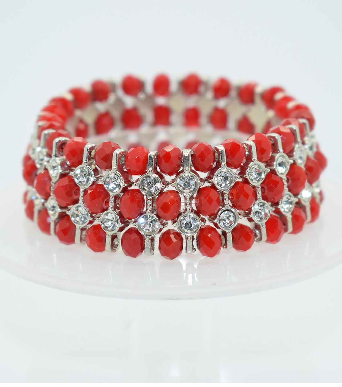 Glass Beads Spacer Bracelet-Opaque Red