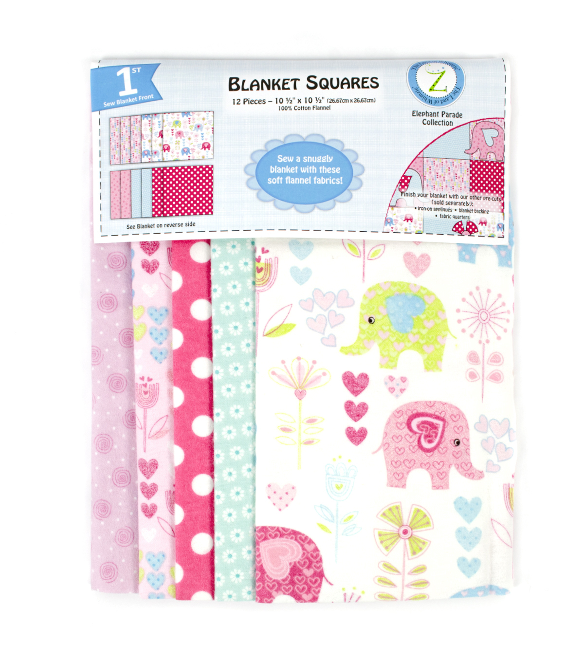 Land of Whimzie Elephant Parade Flannel Blanket Sqrs-12pc 10.5\u0022x10.5\u0022