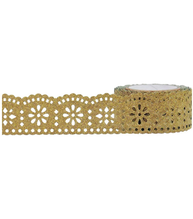 Little B Tape 0.9''x16'-Gold Lace Glitter