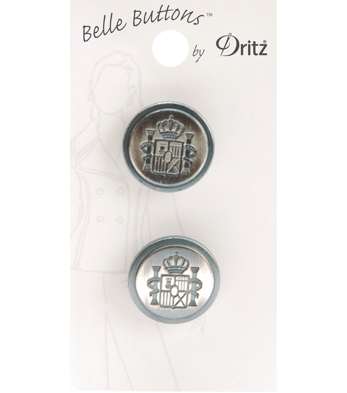 Belle Button-Black And Silver Round Crest 20Mm