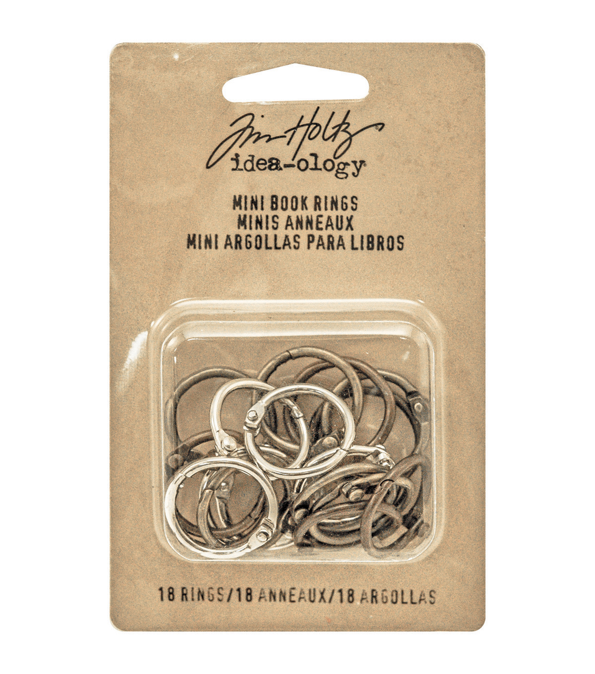 "Tim Holtz Idea-Ology Mini Book Rings .75"" 18/Pkg-Silver, Antique Brass & Antique Copper"