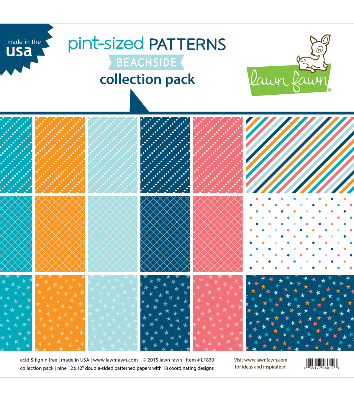 Lawn Fawn Pint-Sized Patterns Beachside Collection Pack 12\u0022X12\u0022