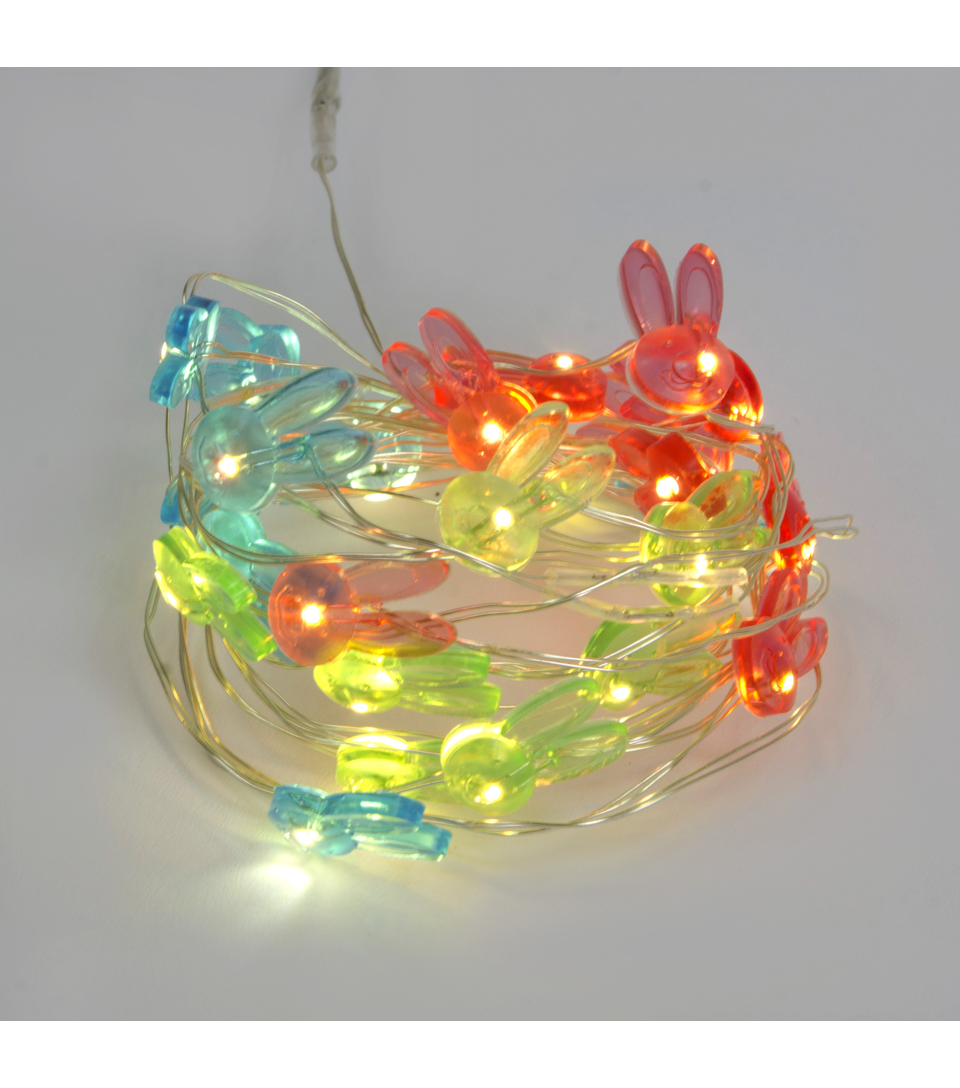 Easter 25 Light Mulit Rabbits Led Rice Light-Silver